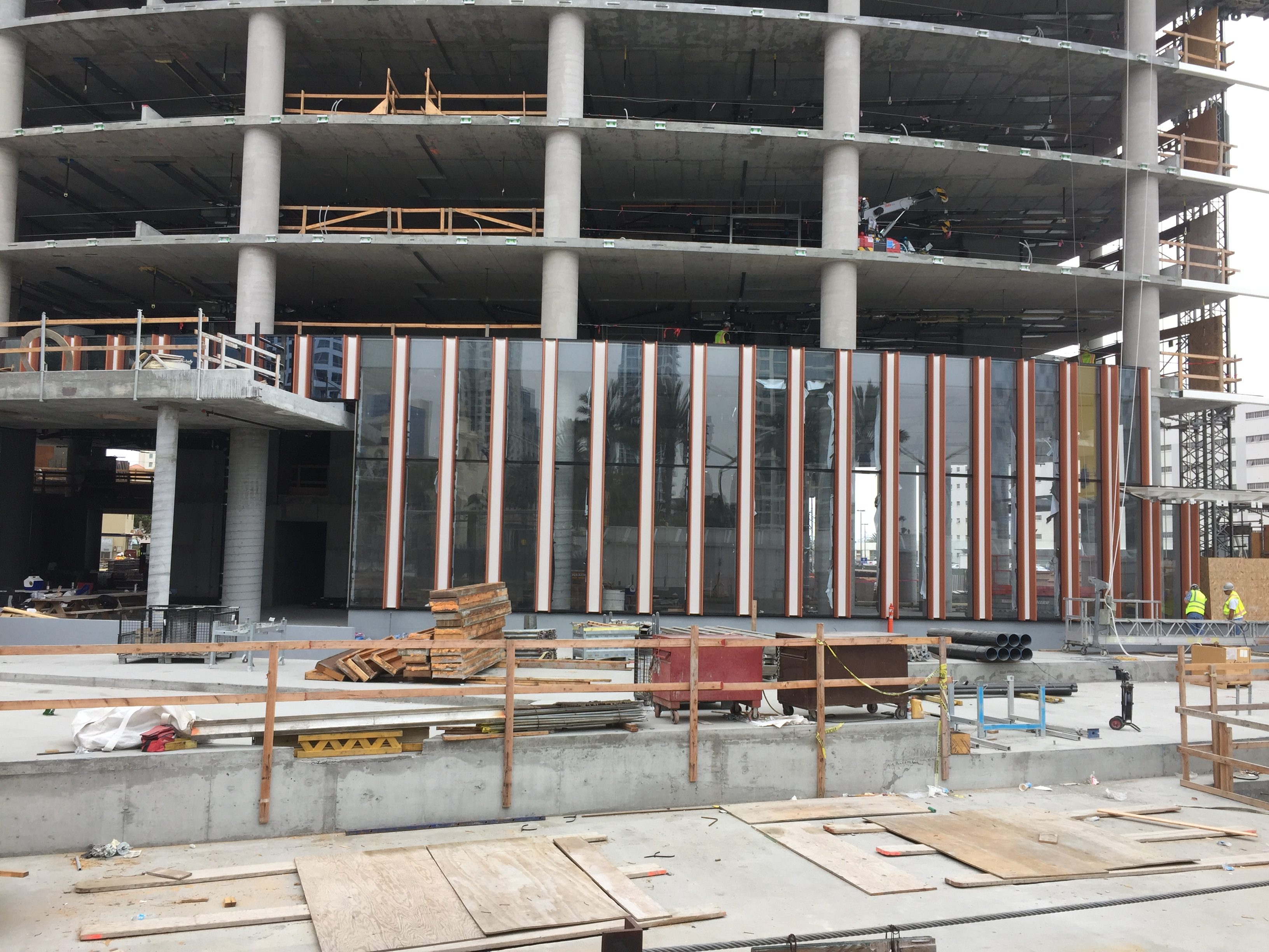 Glazing installation at Pacific Gate