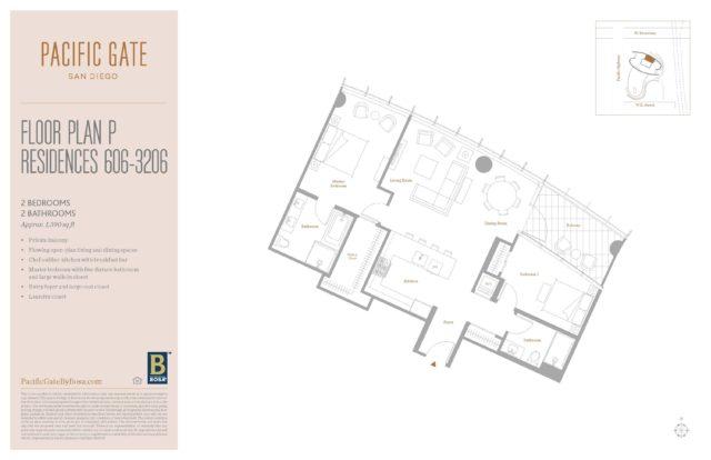 Pacific Gate Unit 1906 Floor Plan